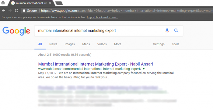 Mumbai International Internet Marketing Expert top ranking image